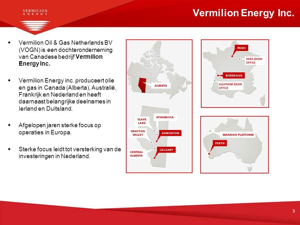  Vermilion Oil & Gas Netherlands BV (VOGN) is een dochteronderneming van Canadese bedrijf Vermilion Energy Inc.  Vermilion Energy inc. produceert ol