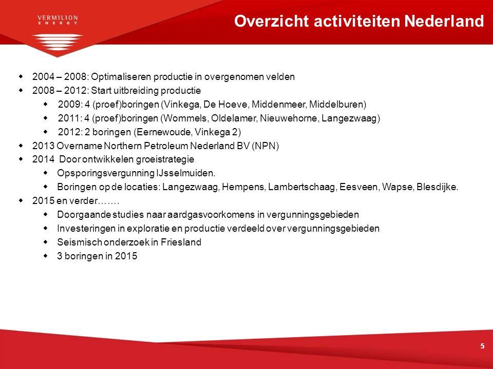 555 Overzicht activiteiten Nederland  2004 – 2008: Optimaliseren productie in overgenomen velden  2008 – 2012: Start uitbreiding productie  2009: 4