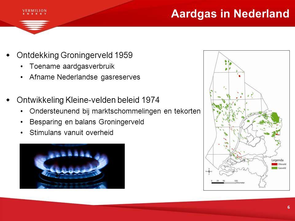 6  Ontdekking Groningerveld 1959 Toename aardgasverbruik Afname Nederlandse gasreserves  Ontwikkeling Kleine-velden beleid 1974 Ondersteunend bij ma