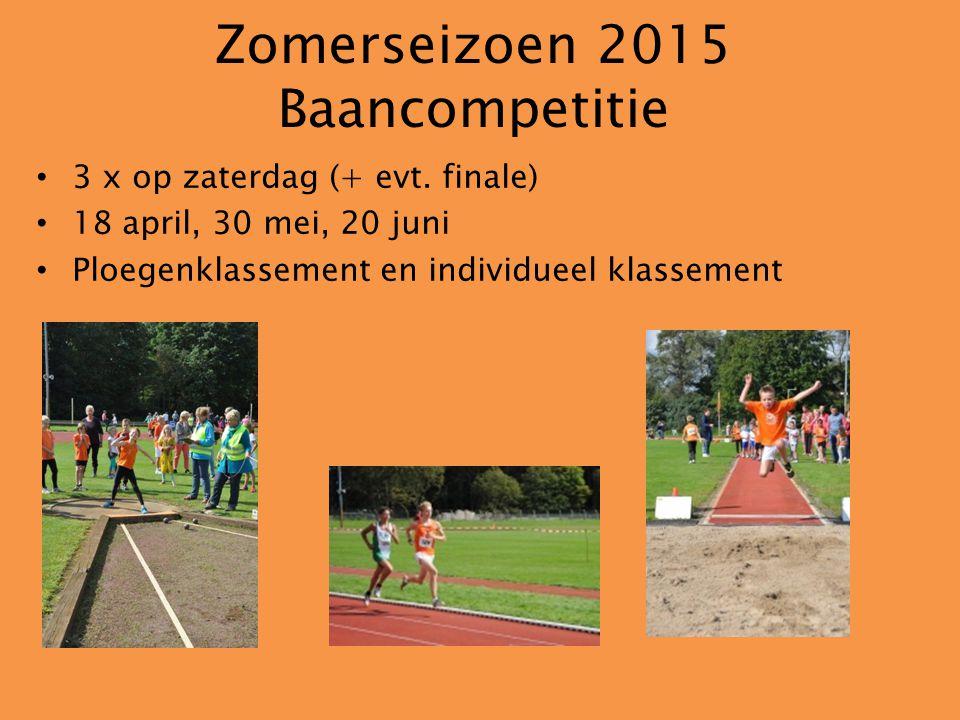Zomerseizoen 2015 Baancompetitie 3 x op zaterdag (+ evt.