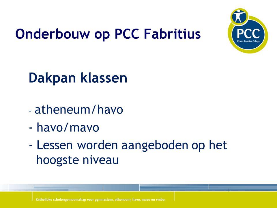 Onderbouw op PCC Fabritius Dakpan klassen - atheneum/havo - havo/mavo - Lessen worden aangeboden op het hoogste niveau