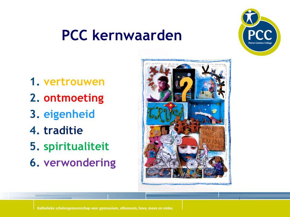 PCC kernwaarden 1.vertrouwen 2. ontmoeting 3. eigenheid 4.