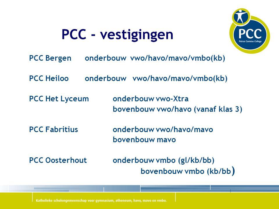 PCC - vestigingen PCC Bergenonderbouw vwo/havo/mavo/vmbo(kb) PCC Heilooonderbouw vwo/havo/mavo/vmbo(kb) PCC Het Lyceum onderbouw vwo-Xtra bovenbouw vwo/havo (vanaf klas 3) PCC Fabritiusonderbouw vwo/havo/mavo bovenbouw mavo PCC Oosterhoutonderbouw vmbo (gl/kb/bb) bovenbouw vmbo (kb/bb )