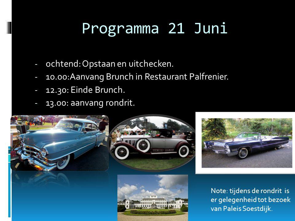 Programma 21 Juni - ochtend: Opstaan en uitchecken.