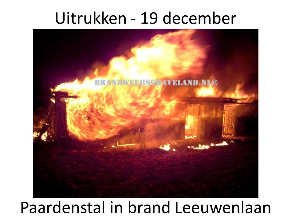 Uitrukken - 19 december Paardenstal in brand Leeuwenlaan
