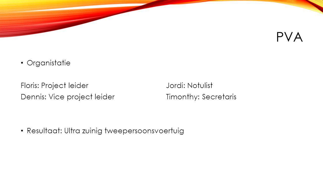 PVA Organistatie Floris: Project leiderJordi: Notulist Dennis: Vice project leiderTimonthy: Secretaris Resultaat: Ultra zuinig tweepersoonsvoertuig