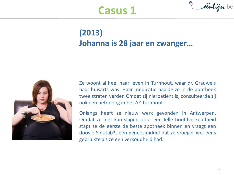 Casus 1 (2013) Johanna is 28 jaar en zwanger… Ze woont al heel haar leven in Turnhout, waar dr.