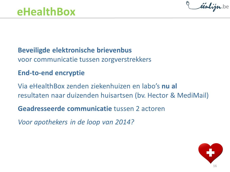 Beveiligde elektronische brievenbus voor communicatie tussen zorgverstrekkers End-to-end encryptie Via eHealthBox zenden ziekenhuizen en labo's nu al resultaten naar duizenden huisartsen (bv.