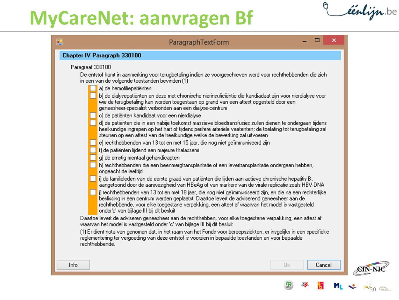 MyCareNet: aanvragen Bf 30
