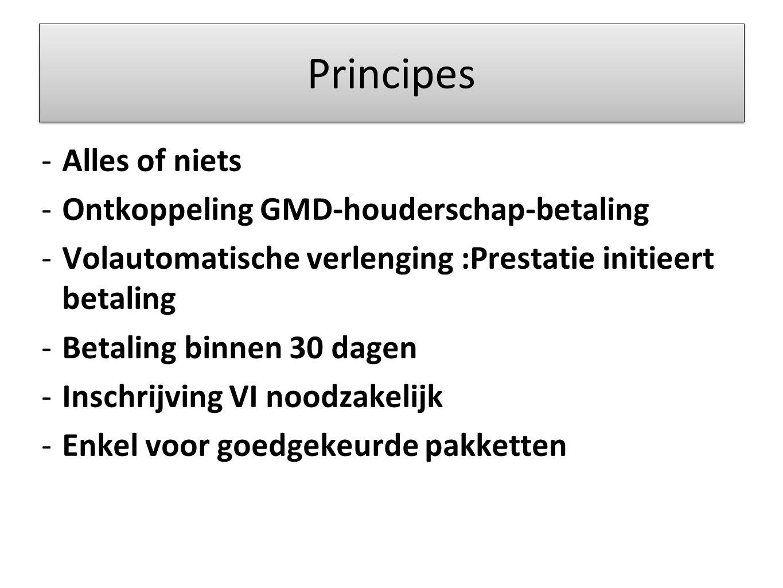 Principes -Alles of niets -Ontkoppeling GMD-houderschap-betaling -Volautomatische verlenging :Prestatie initieert betaling -Betaling binnen 30 dagen -Inschrijving VI noodzakelijk -Enkel voor goedgekeurde pakketten