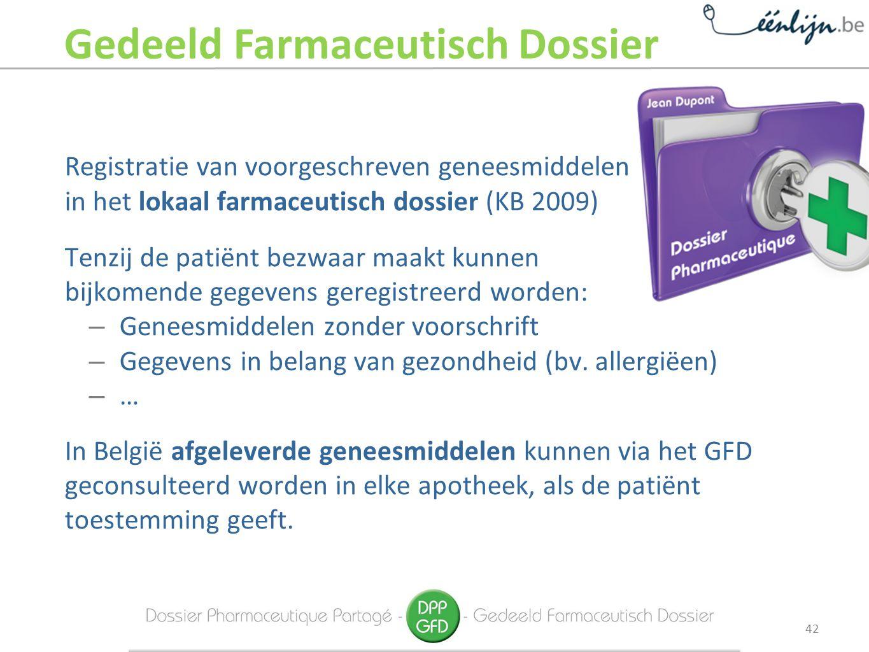 Registratie van voorgeschreven geneesmiddelen in het lokaal farmaceutisch dossier (KB 2009) Tenzij de patiënt bezwaar maakt kunnen bijkomende gegevens geregistreerd worden: – Geneesmiddelen zonder voorschrift – Gegevens in belang van gezondheid (bv.