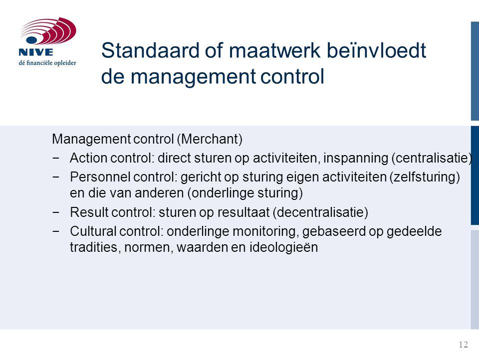 12 Standaard of maatwerk beïnvloedt de management control Management control (Merchant) −Action control: direct sturen op activiteiten, inspanning (ce