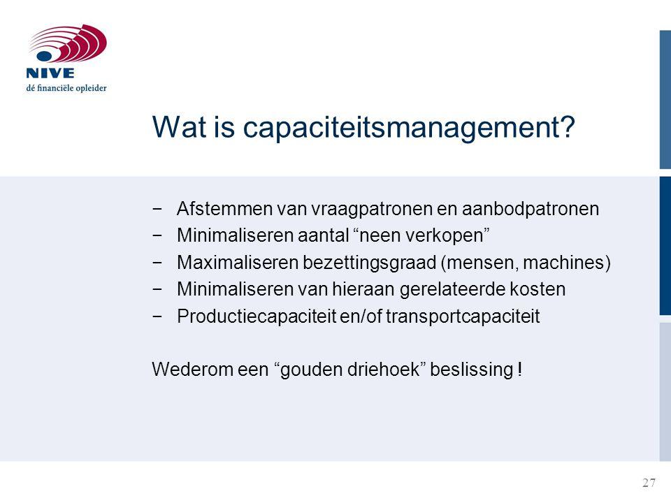 """27 Wat is capaciteitsmanagement? −Afstemmen van vraagpatronen en aanbodpatronen −Minimaliseren aantal """"neen verkopen"""" −Maximaliseren bezettingsgraad ("""