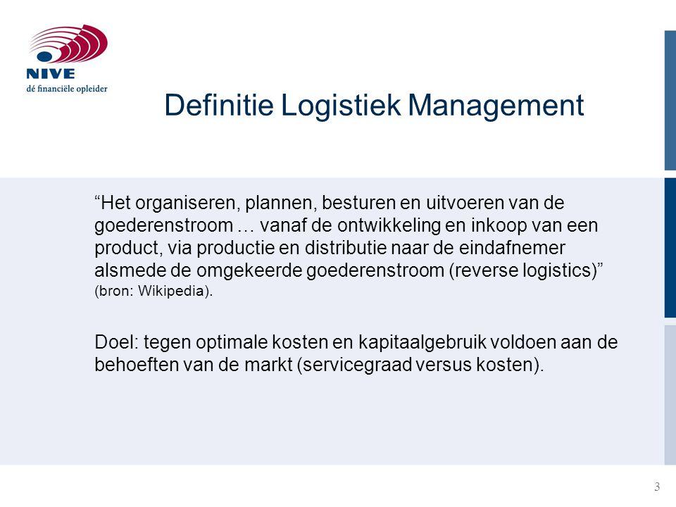 """3 """"Het organiseren, plannen, besturen en uitvoeren van de goederenstroom … vanaf de ontwikkeling en inkoop van een product, via productie en distribut"""
