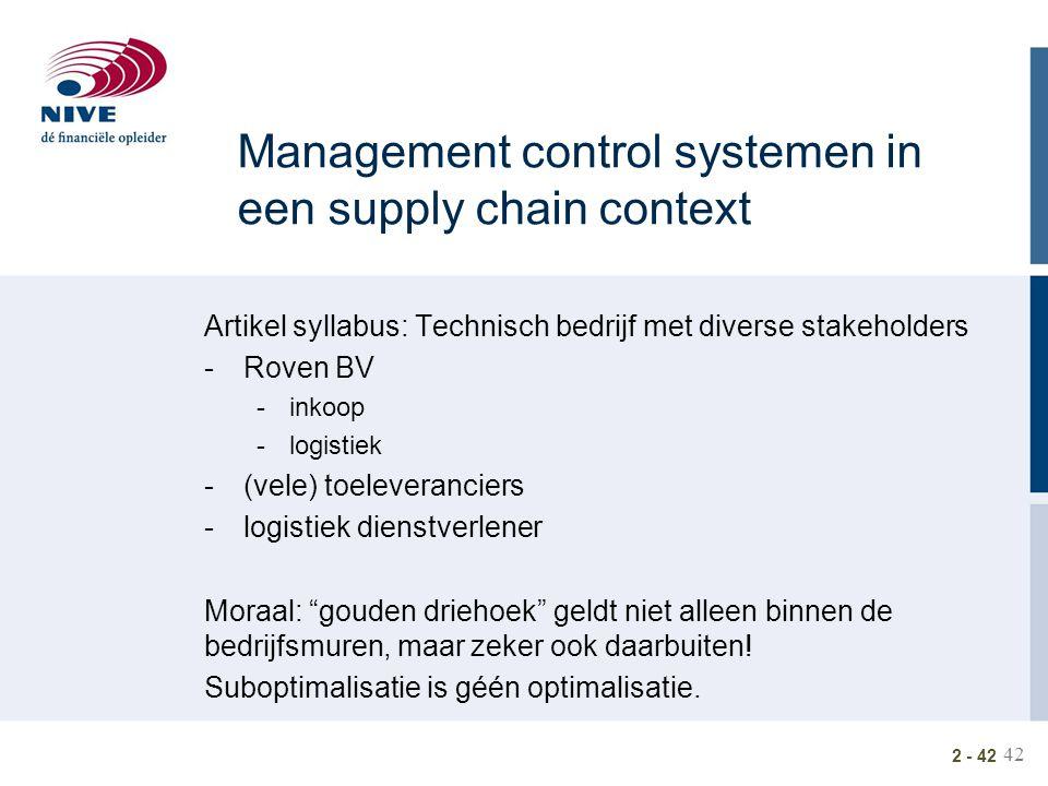 42 2 - 42 Management control systemen in een supply chain context Artikel syllabus: Technisch bedrijf met diverse stakeholders -Roven BV -inkoop -logi