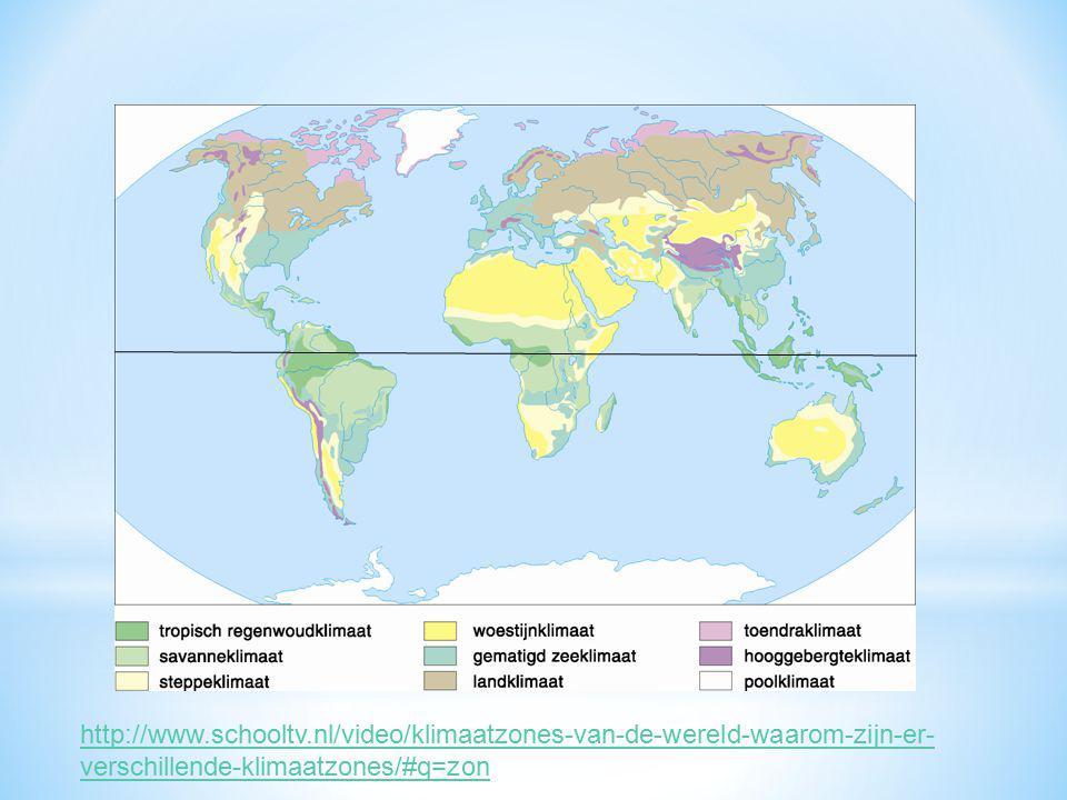 http://www.schooltv.nl/video/klimaatzones-van-de-wereld-waarom-zijn-er- verschillende-klimaatzones/#q=zon