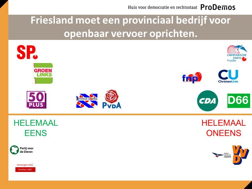 HELEMAAL EENS HELEMAAL ONEENS Friesland moet een provinciaal bedrijf voor openbaar vervoer oprichten.