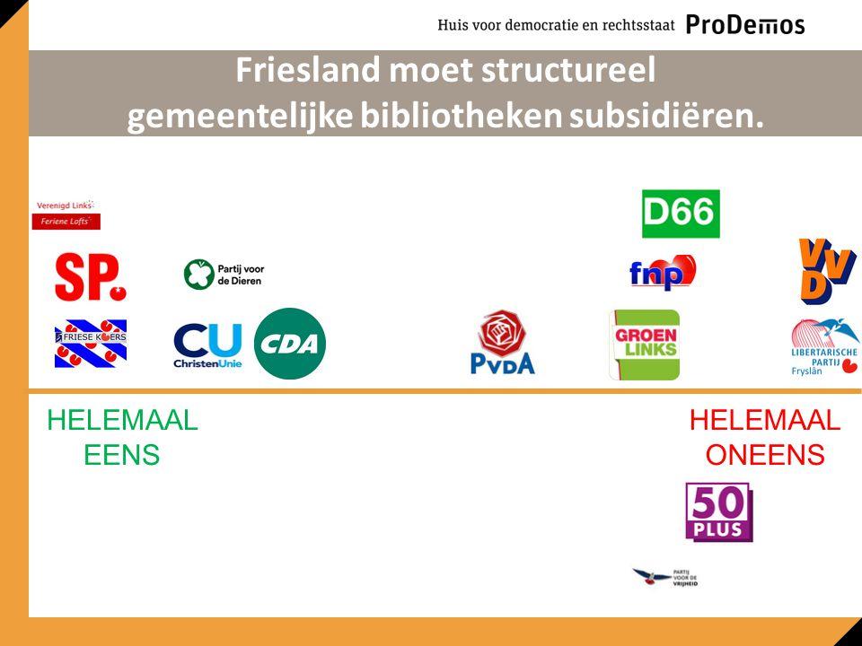 HELEMAAL EENS HELEMAAL ONEENS Friesland moet structureel gemeentelijke bibliotheken subsidiëren.