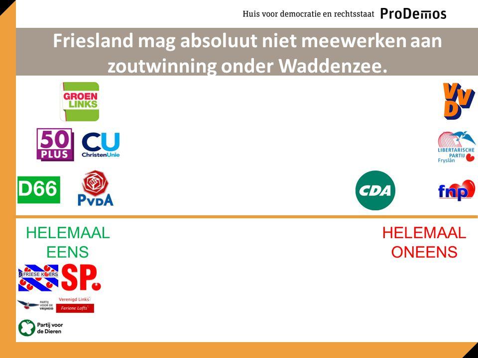 HELEMAAL EENS HELEMAAL ONEENS Friesland mag absoluut niet meewerken aan zoutwinning onder Waddenzee.