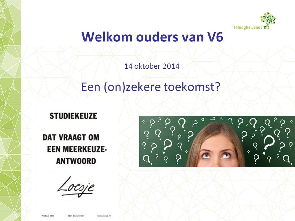 Welkom ouders van V6 14 oktober 2014 Een (on)zekere toekomst