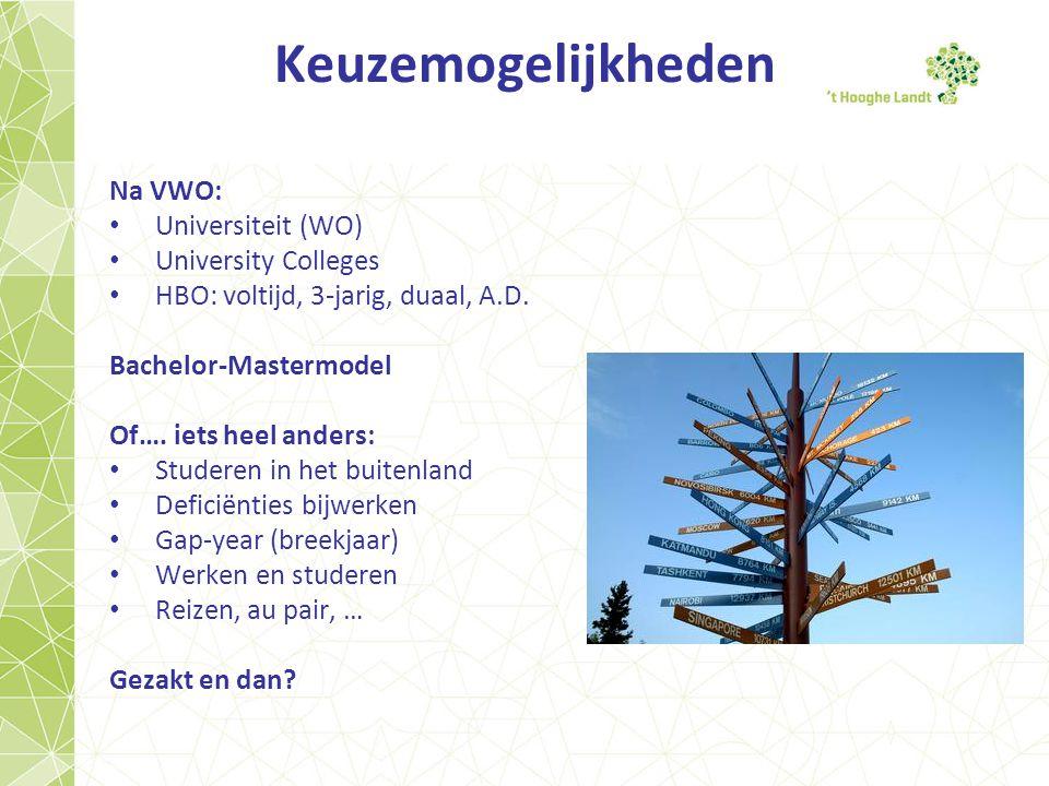 Keuzemogelijkheden Na VWO: Universiteit (WO) University Colleges HBO: voltijd, 3-jarig, duaal, A.D.