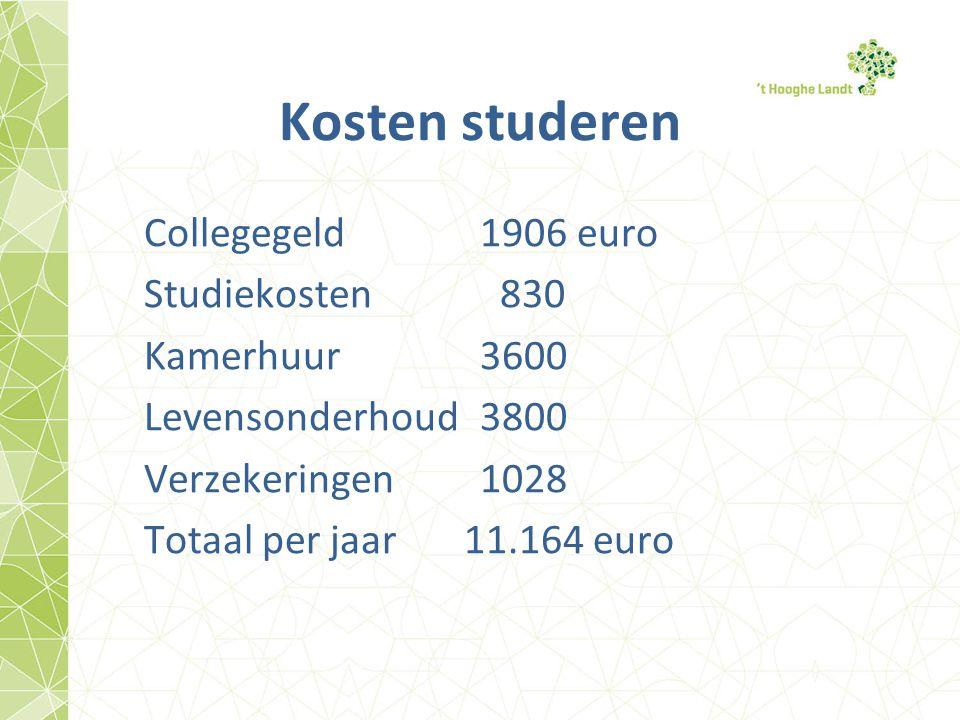 Kosten studeren Collegegeld 1906 euro Studiekosten 830 Kamerhuur 3600 Levensonderhoud3800 Verzekeringen1028 Totaal per jaar 11.164 euro