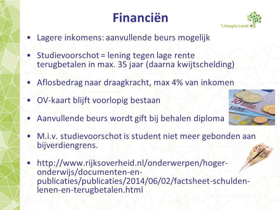 Financiën Lagere inkomens: aanvullende beurs mogelijk Studievoorschot = lening tegen lage rente terugbetalen in max.