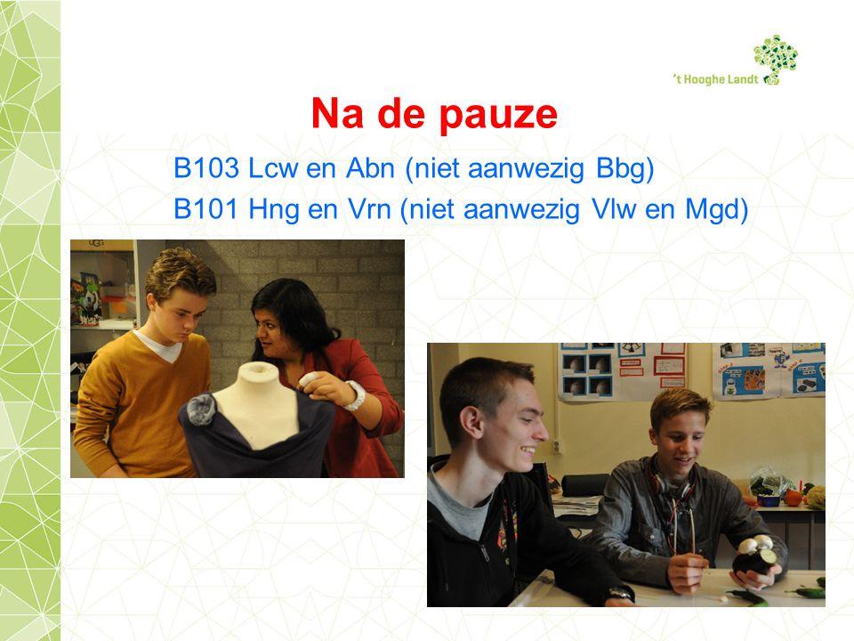 B103 Lcw en Abn (niet aanwezig Bbg) B101 Hng en Vrn (niet aanwezig Vlw en Mgd) Na de pauze