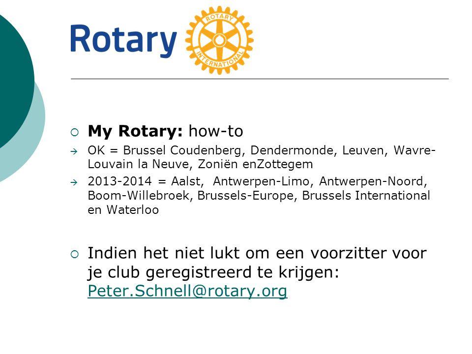  My Rotary: how-to  OK = Brussel Coudenberg, Dendermonde, Leuven, Wavre- Louvain la Neuve, Zoniën enZottegem  2013-2014 = Aalst, Antwerpen-Limo, Antwerpen-Noord, Boom-Willebroek, Brussels-Europe, Brussels International en Waterloo  Indien het niet lukt om een voorzitter voor je club geregistreerd te krijgen: Peter.Schnell@rotary.org Peter.Schnell@rotary.org