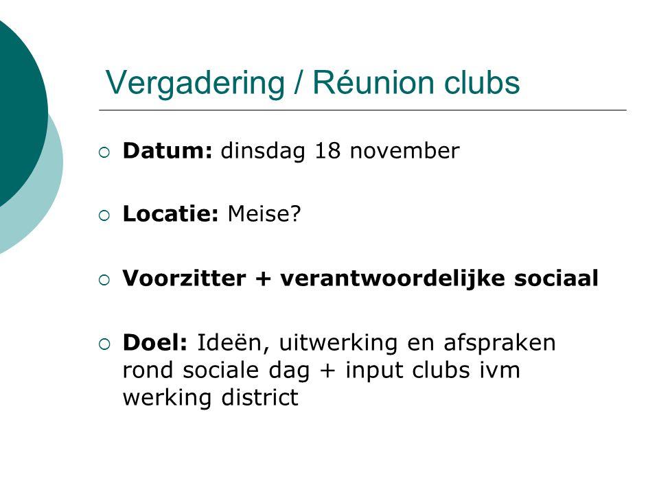 Vergadering / Réunion clubs  Datum: dinsdag 18 november  Locatie: Meise?  Voorzitter + verantwoordelijke sociaal  Doel: Ideën, uitwerking en afspr