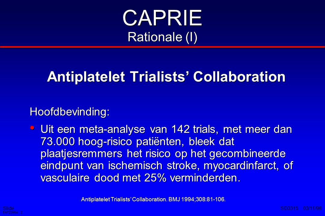 Slide E972095A 2 SD3315 03/11/98 Antiplatelet Trialists' Collaboration Hoofdbevinding: Uit een meta-analyse van 142 trials, met meer dan 73.000 hoog-risico patiënten, bleek dat plaatjesremmers het risico op het gecombineerde eindpunt van ischemisch stroke, myocardinfarct, of vasculaire dood met 25% verminderden.