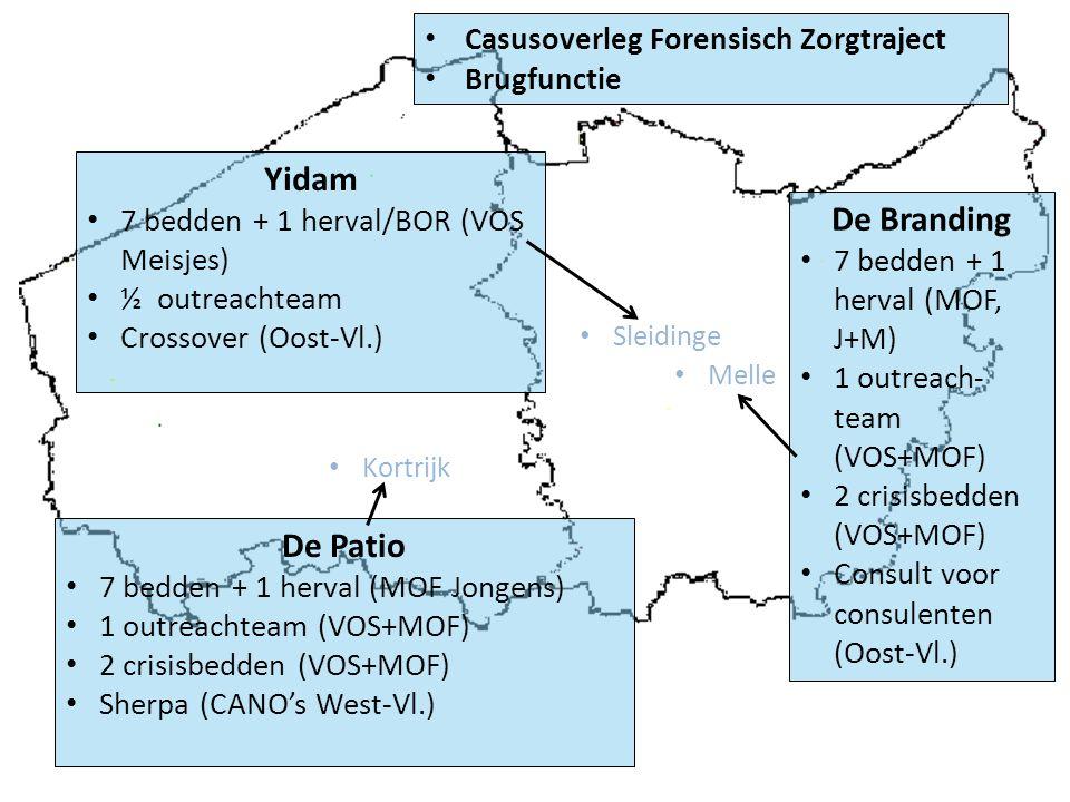 De Patio 7 bedden + 1 herval (MOF Jongens) 1 outreachteam (VOS+MOF) 2 crisisbedden (VOS+MOF) Sherpa (CANO's West-Vl.) De Branding 7 bedden + 1 herval