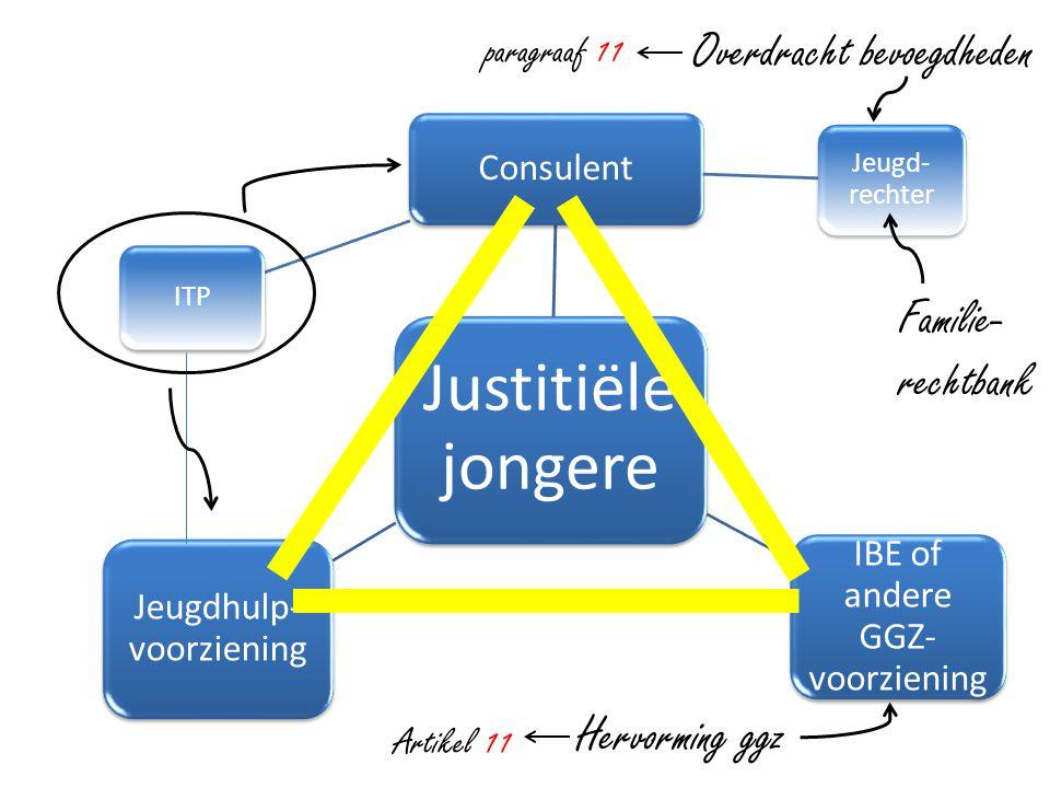 Justitiële jongere Consulent Jeugd- rechter ITP IBE of andere GGZ- voorziening Jeugdhulp- voorziening Familie- rechtbank Overdracht bevoegdheden Hervo