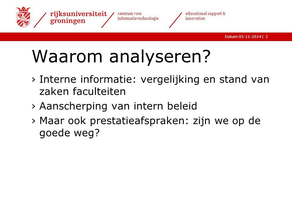  Datum 05-11-2014 centrum voor informatie technologie educational support & innovation Resultaten propedeuse 3