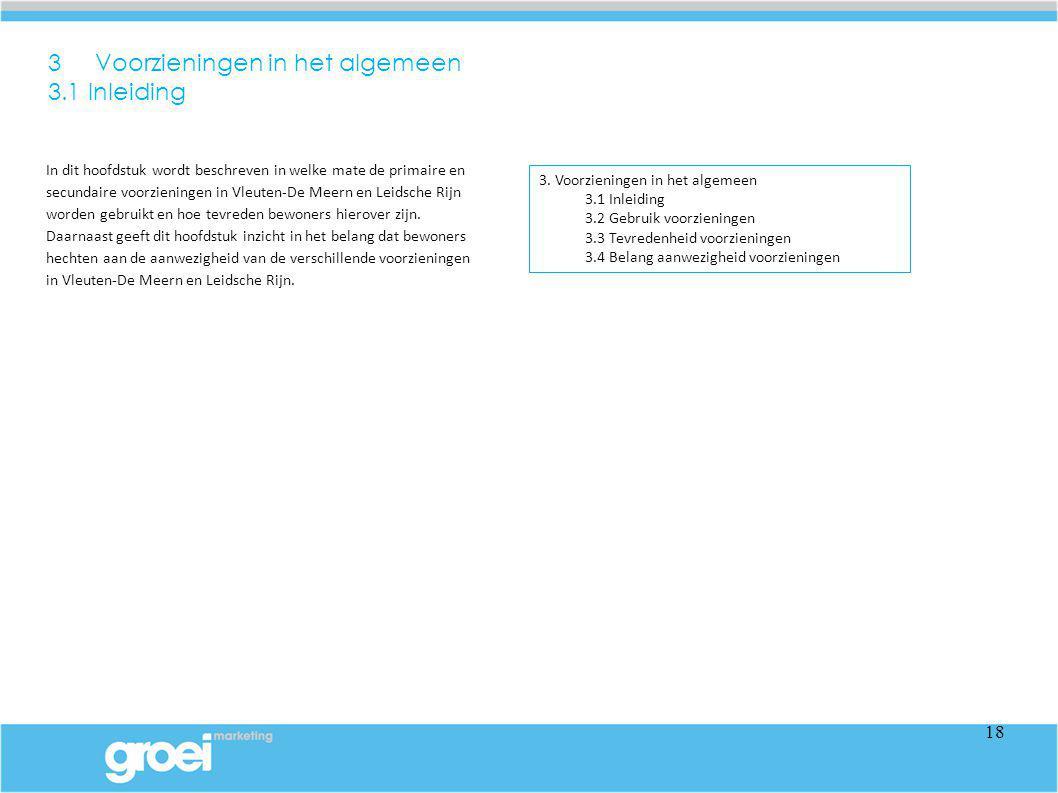 In dit hoofdstuk wordt beschreven in welke mate de primaire en secundaire voorzieningen in Vleuten-De Meern en Leidsche Rijn worden gebruikt en hoe te