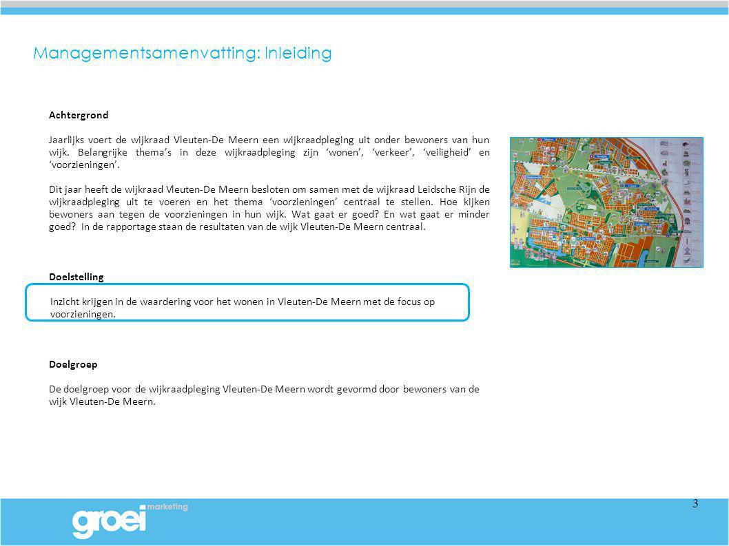 In dit hoofdstuk komt de tevredenheid over de bereikbaarheid van de verschillende deelwijken van Vleuten-De Meern aan de orde.