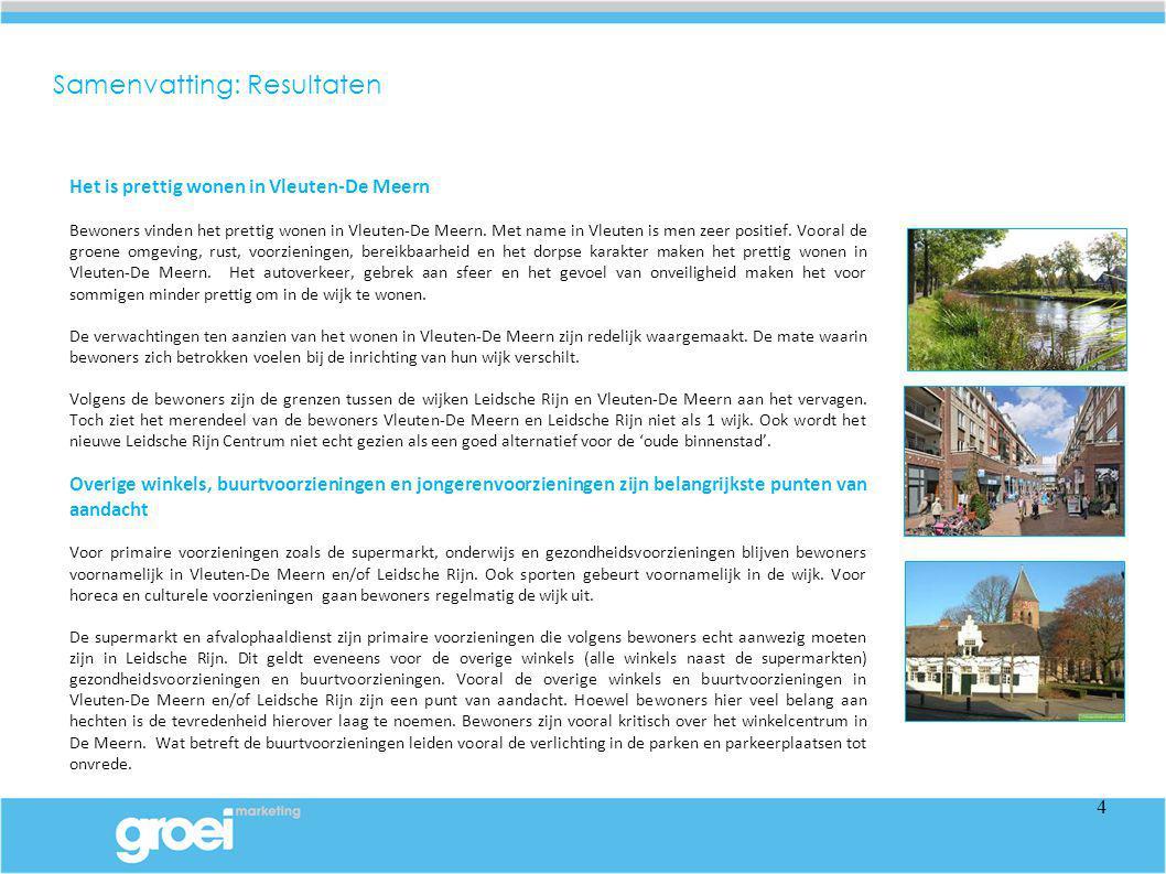 Het is prettig wonen in Vleuten-De Meern Bewoners vinden het prettig wonen in Vleuten-De Meern. Met name in Vleuten is men zeer positief. Vooral de gr
