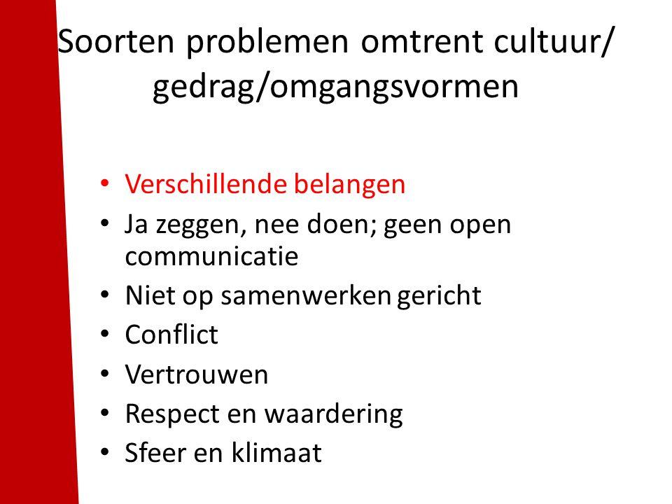 Verschillende belangen Ja zeggen, nee doen; geen open communicatie Niet op samenwerken gericht Conflict Vertrouwen Respect en waardering Sfeer en klim