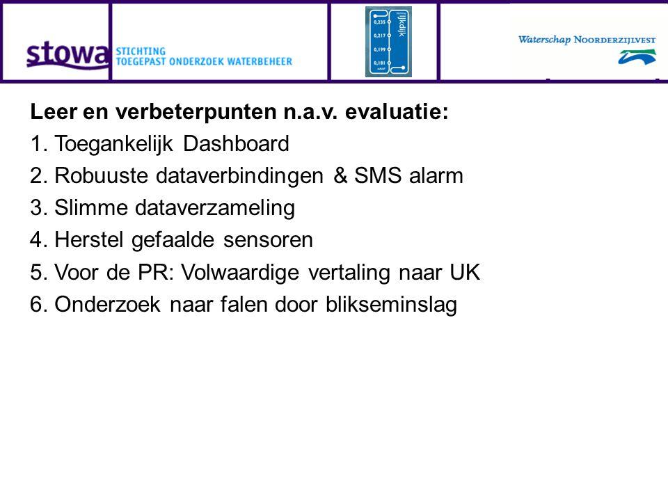 Leer en verbeterpunten n.a.v. evaluatie: 1. Toegankelijk Dashboard 2. Robuuste dataverbindingen & SMS alarm 3. Slimme dataverzameling 4. Herstel gefaa