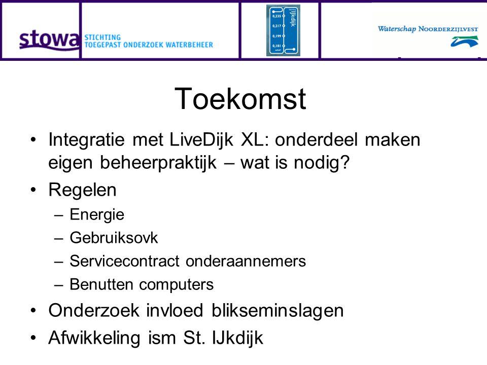 Toekomst Integratie met LiveDijk XL: onderdeel maken eigen beheerpraktijk – wat is nodig? Regelen –Energie –Gebruiksovk –Servicecontract onderaannemer