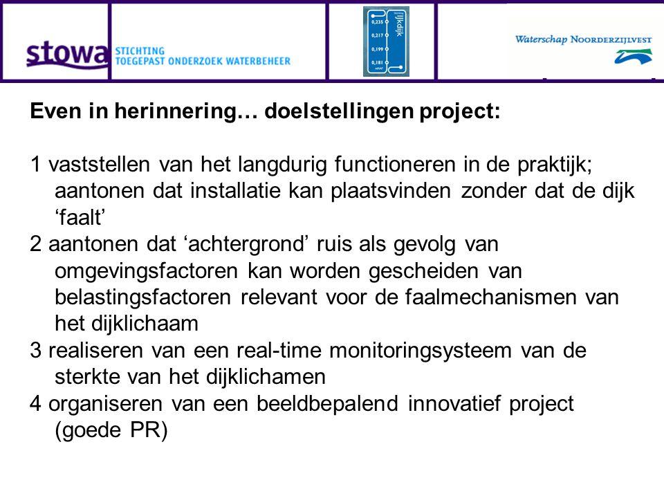 Even in herinnering… doelstellingen project: 1 vaststellen van het langdurig functioneren in de praktijk; aantonen dat installatie kan plaatsvinden zo