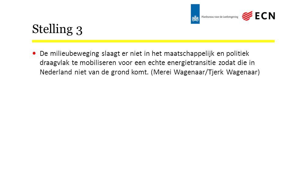 Stelling 3 De milieubeweging slaagt er niet in het maatschappelijk en politiek draagvlak te mobiliseren voor een echte energietransitie zodat die in Nederland niet van de grond komt.