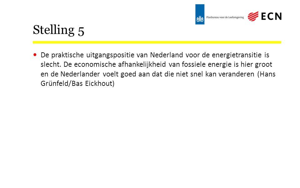 Stelling 5 De praktische uitgangspositie van Nederland voor de energietransitie is slecht.
