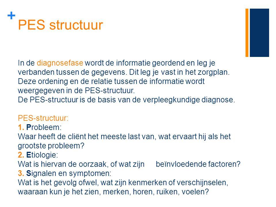 + PES structuur In de diagnosefase wordt de informatie geordend en leg je verbanden tussen de gegevens. Dit leg je vast in het zorgplan. Deze ordening