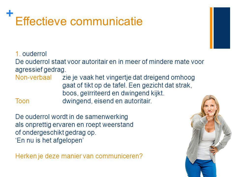 + Effectieve communicatie 1.ouderrol De ouderrol staat voor autoritair en in meer of mindere mate voor agressief gedrag. Non-verbaal zie je vaak het v