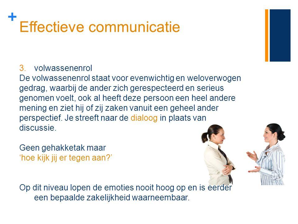 + Effectieve communicatie 3.volwassenenrol De volwassenenrol staat voor evenwichtig en weloverwogen gedrag, waarbij de ander zich gerespecteerd en ser