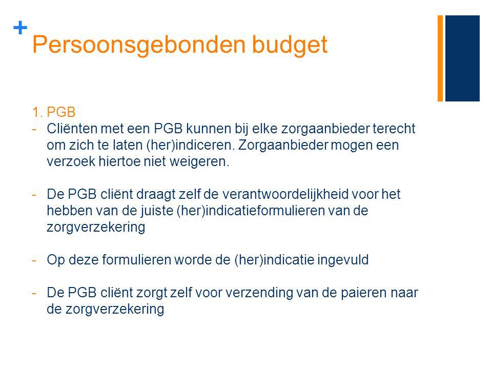 + Persoonsgebonden budget 1.PGB -Cliënten met een PGB kunnen bij elke zorgaanbieder terecht om zich te laten (her)indiceren. Zorgaanbieder mogen een v
