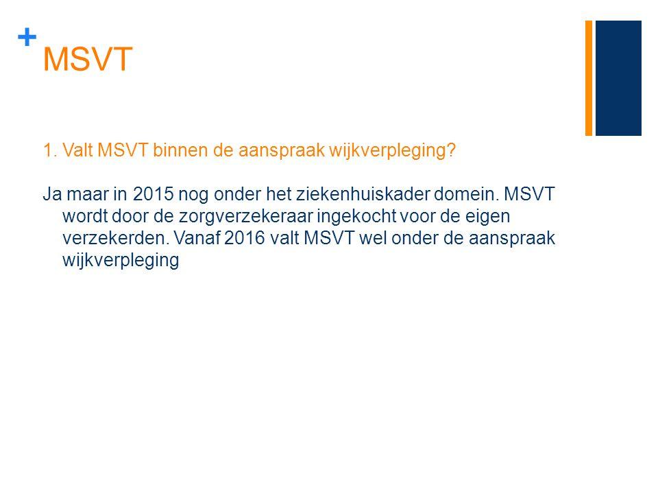 + MSVT 1.Valt MSVT binnen de aanspraak wijkverpleging? Ja maar in 2015 nog onder het ziekenhuiskader domein. MSVT wordt door de zorgverzekeraar ingeko