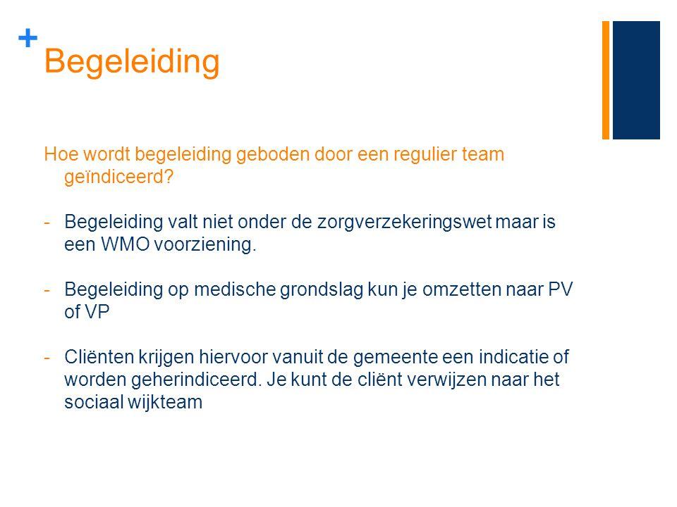 + Begeleiding Hoe wordt begeleiding geboden door een regulier team geïndiceerd? -Begeleiding valt niet onder de zorgverzekeringswet maar is een WMO vo