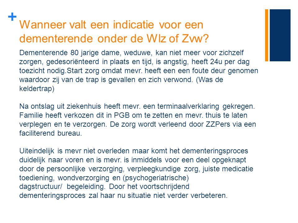 + Wanneer valt een indicatie voor een dementerende onder de Wlz of Zvw? Dementerende 80 jarige dame, weduwe, kan niet meer voor zichzelf zorgen, gedes